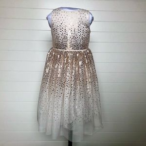 Girls Cream & Gold Sequin Party Dress size 5
